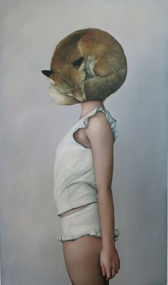 "redlipstickresurrected: "" Amy Judd (British, b. England) - Huli Jing Helmet (Fox Spirit), 2014 Paintings: Oil on Canvas """