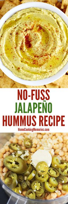 This easy No-Fuss Jalapeno Hummus recipe can be made in less than 5 minutes — just blend all the ingredients in a food processor and it's ready to go.