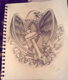 tattoo design by me first time I've ever drawn an eagle or an anchor