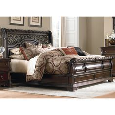 enjoy the luxurious appearance of this sleigh bed set from liberty featuring a headboard - Alaskan King Bed