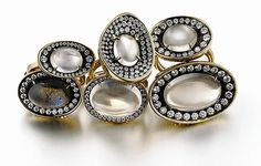 """Australian jeweler Ray Griffiths' rings and necklaces with intricate """"crownwork."""" Griffiths trained in the dying art of repair and design of crowns and tiaras for royalty, and you can see this weaving and detail in his strong and inspiring collection."""