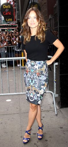 Olivia Wilde | Celebrity Style - Great skirt with simple top. #OnlineShoes