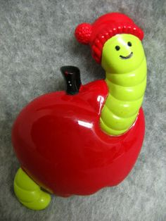 Vintage 1974 Avon Wormy Apple Pin with cologne