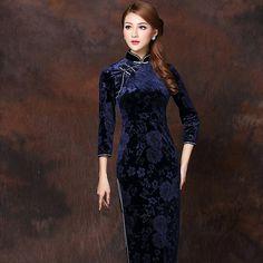 Marvelous Flowers Velvet Qipao Cheongsam Dress - Dark Blue - Qipao - Cheongsam - Women
