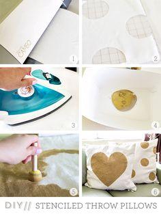 Sarah Hearts | DIY Freezer Paper Stenciled Ikea Throw Pillows