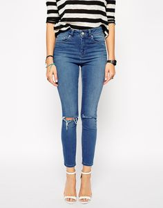 ASOS Ridley High Waist Ultra Skinny Ankle Grazer Jeans