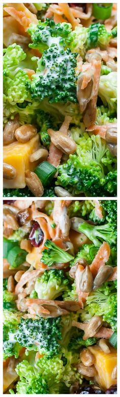 Classic Broccoli Salad ~ With cranberries, carrots, and tasty lightened-up homemade dressing.