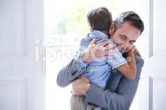 Welcome home Daddy! royalty-free stock photo