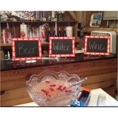 Homemade chalk boards for teacher retirement party for bar menu