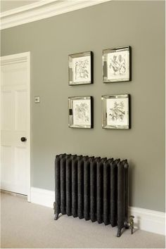 Good hallway colours Farrow and Ball - bedroom wall in Pigeon Estate Emulsion, door and trim in White Tie Estate Eggshell. Hallway Colours, Bedroom Wall Colors, Bedroom Decor, Wall Decor, Green Hallway Paint, Living Room Wall Colours, Grey Hallway, Bedroom Ideas, Paint For Walls