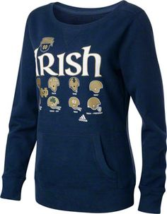 Notre Dame Fighting Irish Football 125th Anniversary Women's Navy adidas Irish Helmet History Too Crewneck Sweatshirt