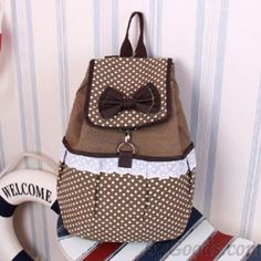 Cute Polka-dot Bow Lace Canvas Backpack