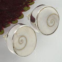 925 Sterling Silver Women's Fashion Earrings Real SHIVA EYE SHELL Oval Gemstones #SunriseJewellers #Stud