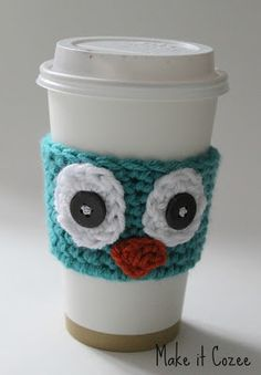 Crochet Owl Coffee Cozy that is very easy to make! ~Anna