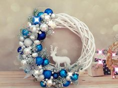Items similar to White and red Christmas wreath, Red and silver door wreath, Deer Christmas wreath, White natural wicker wreath with decor, Holiday Wreath on Etsy - adventskranz ideen Silver Christmas Decorations, Christmas Mantels, Christmas Deer, Christmas Centerpieces, Christmas Crafts, Victorian Christmas, White Christmas, Christmas Lights, Vintage Christmas