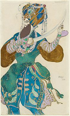 Leon Bakst, Costume design for Shah Zeman, 1910  gouache, pencil, watercolour, paint on varnish paper, 37.0 (h) x 22.2 (w) cm,  Purchased 1980,  National Gallery of Australia, Canberra  NGA 1980.1942