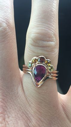 Pink sapphire nesting rings