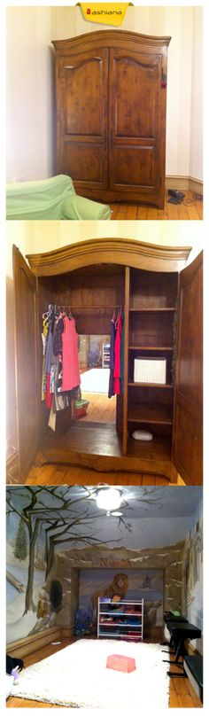 Secret Chronicles Of Narnia Room  Have an extra space in your kid's bedroom? Then why not turn that space in to a magical playroom world.  #MagicalRoom #Narnia #SecretRoom #Closet #Decor #KidsBedroom #Ideas