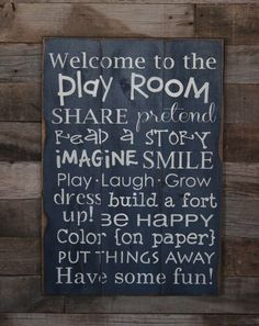 Large+Wood+Sign++Welcome+to+the+Play++Room++by+dustinshelves,+$35.00