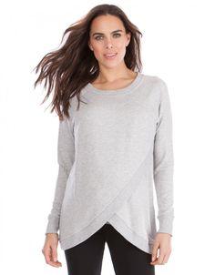 ab706ed210fb5 Grey Marl Crossover Nursing Sweater Maternity Nursing, Maternity Tops,  Maternity Wear, Maternity Fashion