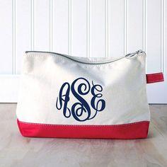 Monogram Make Up Bag - Monogrammed Makeup Canvas Bag - Monogrammed Make Up  Bag - Personalized Cosmetic Bag -Monogrammed Bridesmaids Gift 786ee42506ef1