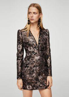 Floral jacquard dress - Women | MANGO USA
