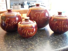 Hull Pottery Brown Drip HTF Cannister Set  ABSOLUTELY MINT L@@K !
