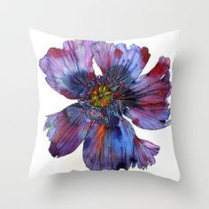 Purple Poppy Throw Pillow by Sofia Perina-Miller - $20.00