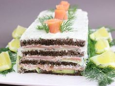 Smoked Salmon Cake -- am so doing this w/ vegan cream cheese and brown rice or millet bread to make it DF and GF.