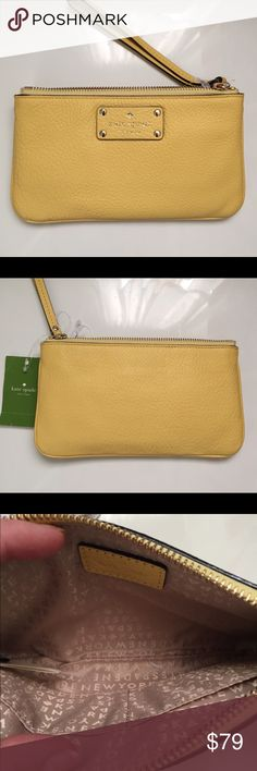"KATE SPADE LEATHER WRISTLET WALLET📍FIRM PRICE 📍 The best Christmas gift idea.                               NWT Kate Spade yellow wristlet. Two small wall pockets. Top zip closure. Gold tone hardware details. Measurements 8 1/4"" L 4""H kate spade Bags Clutches & Wristlets"