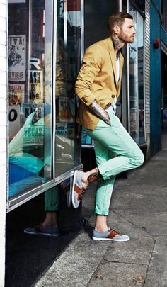 Colour combination - tan/mustard and mint green