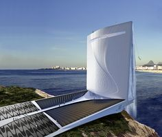 """""""Solar City Tower"""" built atop the island of Cotonduba will be the welcome symbol to the 2016 Olympic Games in Rio de Janeiro ."""