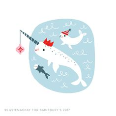 Lizzie Mackay: Sainsbury's for Christmas Fish Illustration, Character Illustration, Christmas Design, Christmas Projects, Santa Express, Pretty Landscapes, Christmas Countdown, Merry Christmas, Xmas