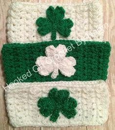 Hooked On Crochet By Karyn St. Patrick's Day shamrock ear warmers