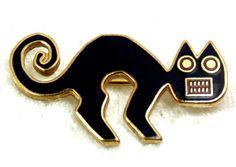 Black Cat Pin MMA Peruvian Cat Brooch Small Vintage by imagiLena
