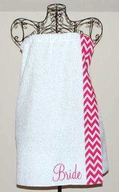 Monogrammed Towel wrap with Pink and White Chevron by smberrier