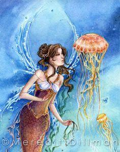 Mermaid art  Jellyfish art  limited edition by meredithdillman, $20.00