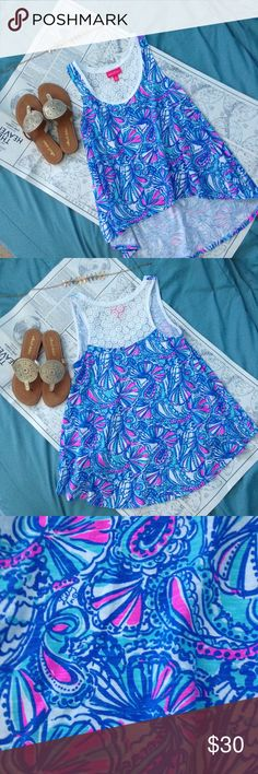 """Lilly Pulitzer My Fans Hi Lo Tank Lilly Pulitzer for Target tank in the print My Fans. Hi lo trapeze fit. Size small. 16.5"""" pit to pit. 22"""" front length. 27"""" back length. Lace detail on upper back. Excellent condition with no signs of wear. The colors are GORGEOUS in person. 100% cotton material. No trades please. Lilly Pulitzer for Target Tops Tank Tops"""