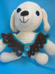 Pet Ruffle Collar Dog Cat Brown/Copper/Aqua Handmade Crochet by Bren by HandCraftedByBren on Etsy