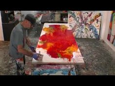 Free online Abstract Art Lesson Demo, fluid drip effect art techniques - YouTube