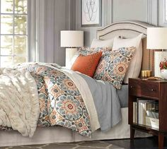 This is the actual duvet cover I bought yesterday from Pottery Barn.  I need to know how to pull the rest of the room (curtains, maybe a rug, etc) together.  Or I could return this set and get something else.  It was on sale so I bought it.