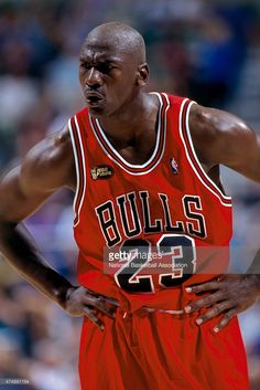 Michael Jordan #23 of the Chicago Bulls looks on during a game against the Utah Jazz in the 1998 NBA Finals at Delta Center in Salt Lake City, UT.