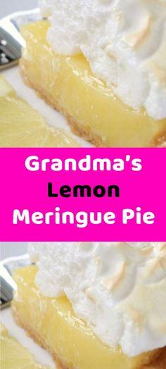 Grandma's Lemon Meringue Pie Ingredients 40 m – 8 servings – 298 cals 1 CU. Lemon Recipes, Pie Recipes, Whole Food Recipes, Dessert Recipes, Cooking Recipes, Cake Ingredients, Pastry Shells, Lemon Filling, Sweets