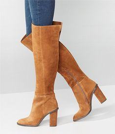 Tan Knee High Boots, Brown Heeled Boots, Brown Suede Boots, Tan Boots, Wide Calf Boots, Suede Booties, Over The Knee Boots, Cowgirl Boots, Suede Heels