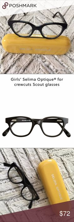 NWOT J Crew Girls' Selima Optique glasses Selima for crewcuts black scout glasses. Famous for luxury eyewear and a very charming boutique, Selima Optique has crafted this special pair just for crewcuts. Rhodoid frame with plastic lenses. Lens: 41mm, bridge: 18mm, arm length: 120mm. Made in France. Online only. Item 19427. J. Crew Accessories Sunglasses