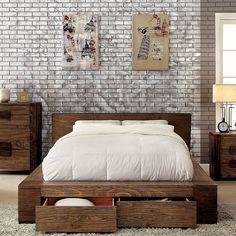 Janeiro II Rustic Finish Bed Frame Set