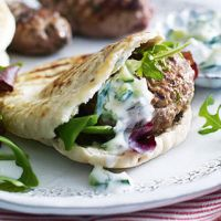 Greek-style lamb koftas with minty cucumber dip