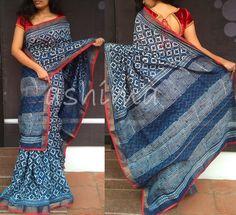 Printed Chanderi Silk- Price Saree reserved by a customer Indigo Saree, Blue Saree, White Saree, Phulkari Saree, Kasavu Saree, Salwar Neck Designs, Blouse Designs, Bandhini Saree, Velvet Saree
