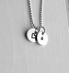 Initial Necklace Letter a Necklace Tiny Heart by GirlBurkeStudios