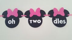 Thanks for visiting my shop! This listing is for a Minnie Mouse oh TWO dles banner. Each Minnie with bow measures about 4 1/2. *font used for ALL colors is shown on pink and light pink photos*
